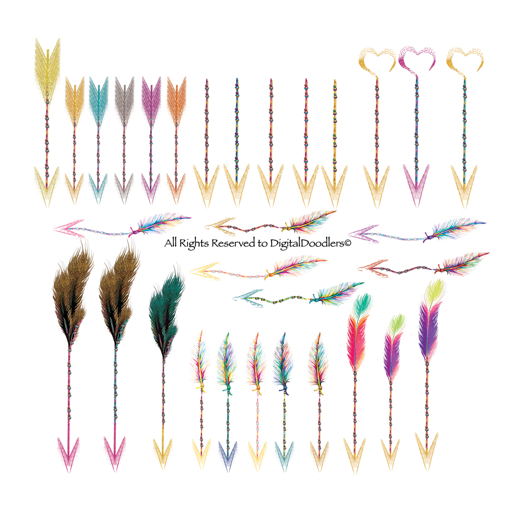 Watercolor Confetti Arrows with Feathers & Beads example image 7
