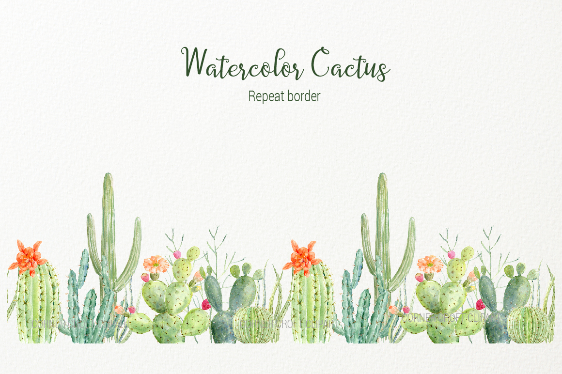 Cactus watercolor. Clipart for instant download