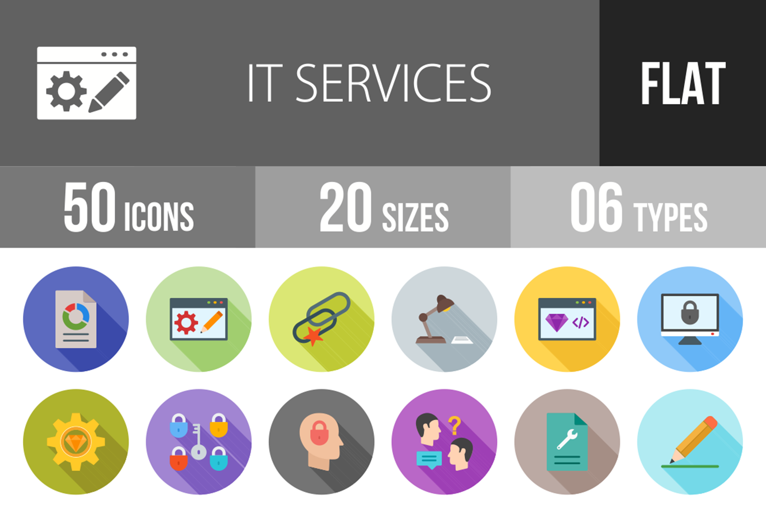 50 IT Services Flat Long Shadow Icons example image 1