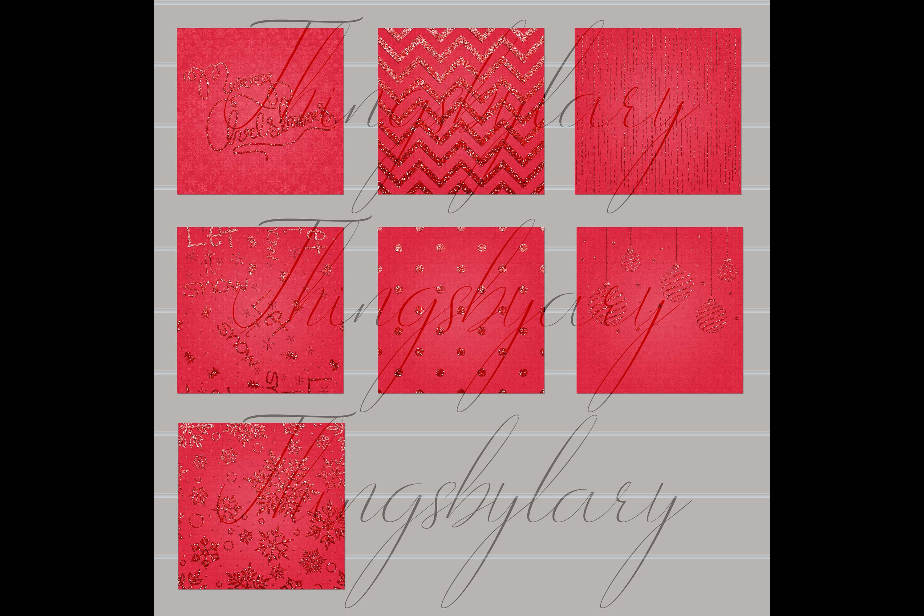 16 Red Glitter Christmas Printable Digital Papers 12 x 12 in example image 3