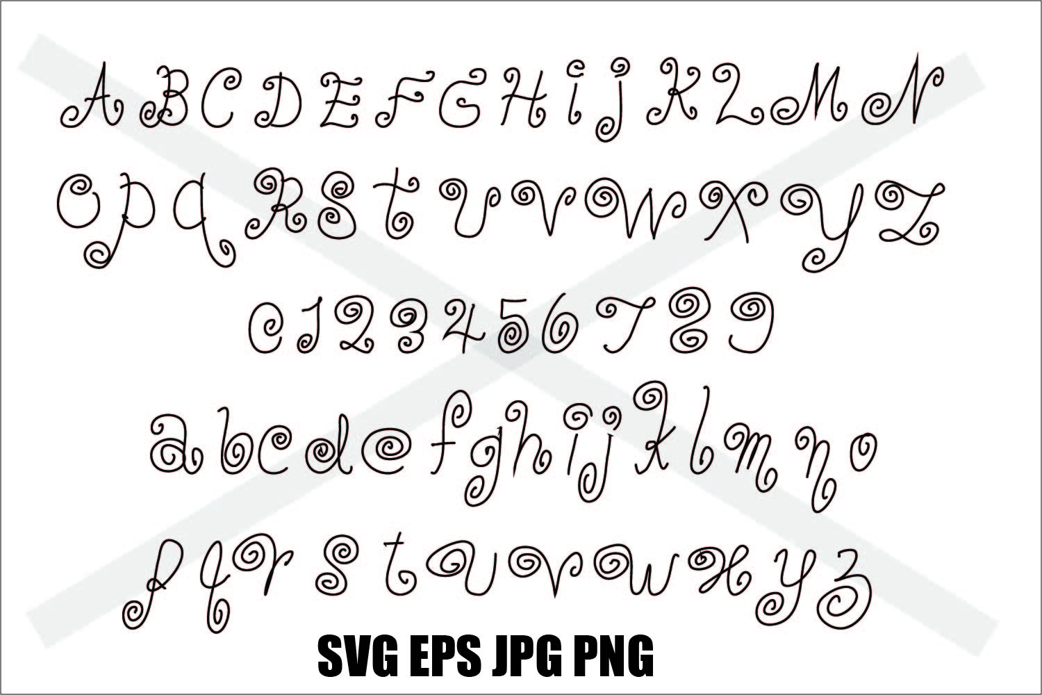 Swirling Font A to Z 0 to 9 - SVG EPS JPG PNG example image 1