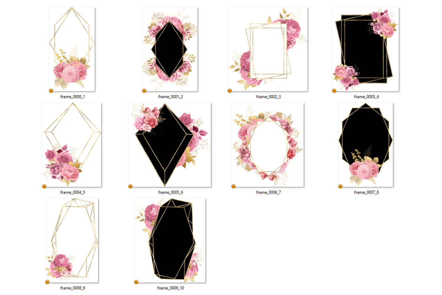Pink and Gold Floral Polygonal Frames Clipart example image 3