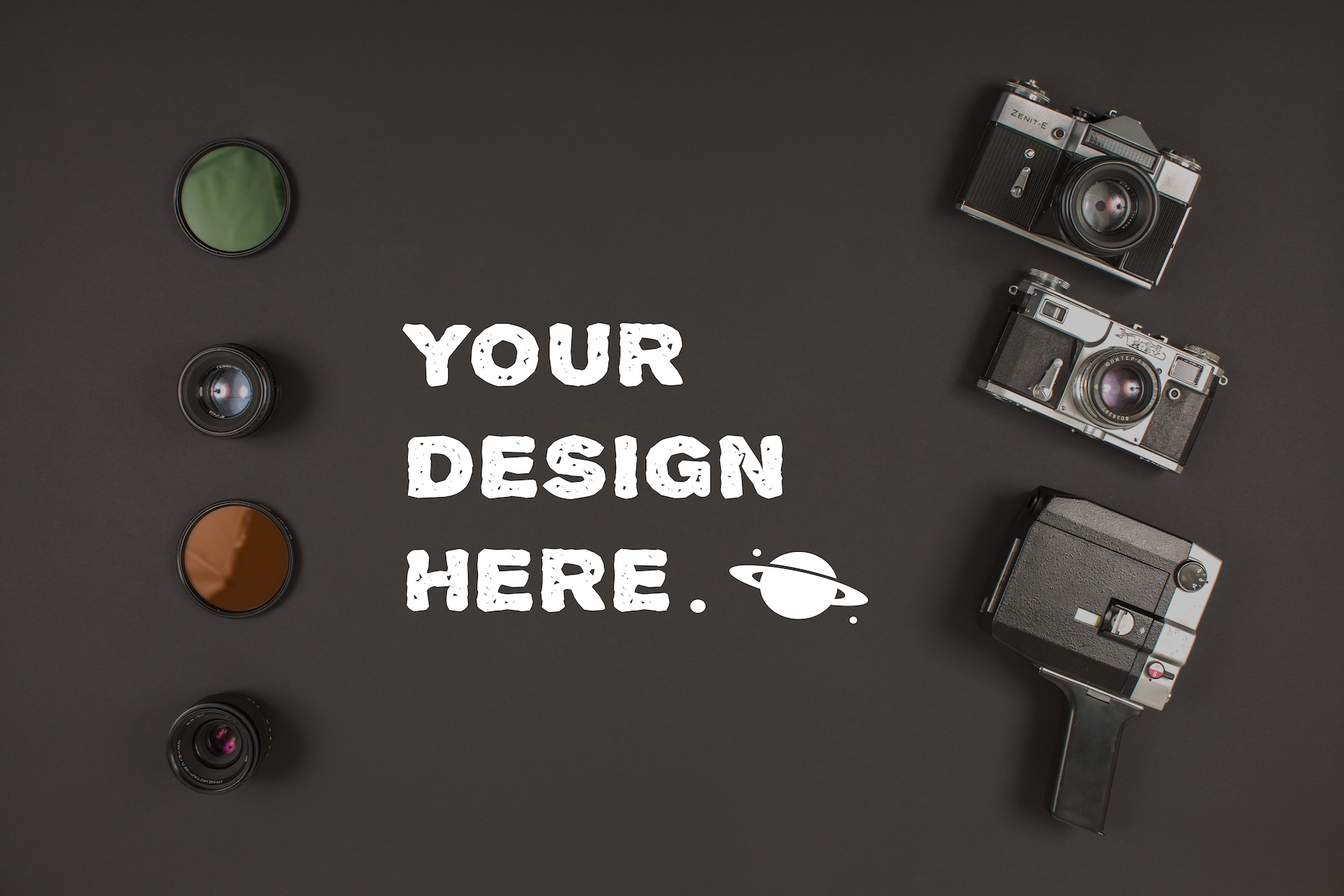 Camera equipment on black background example image 1
