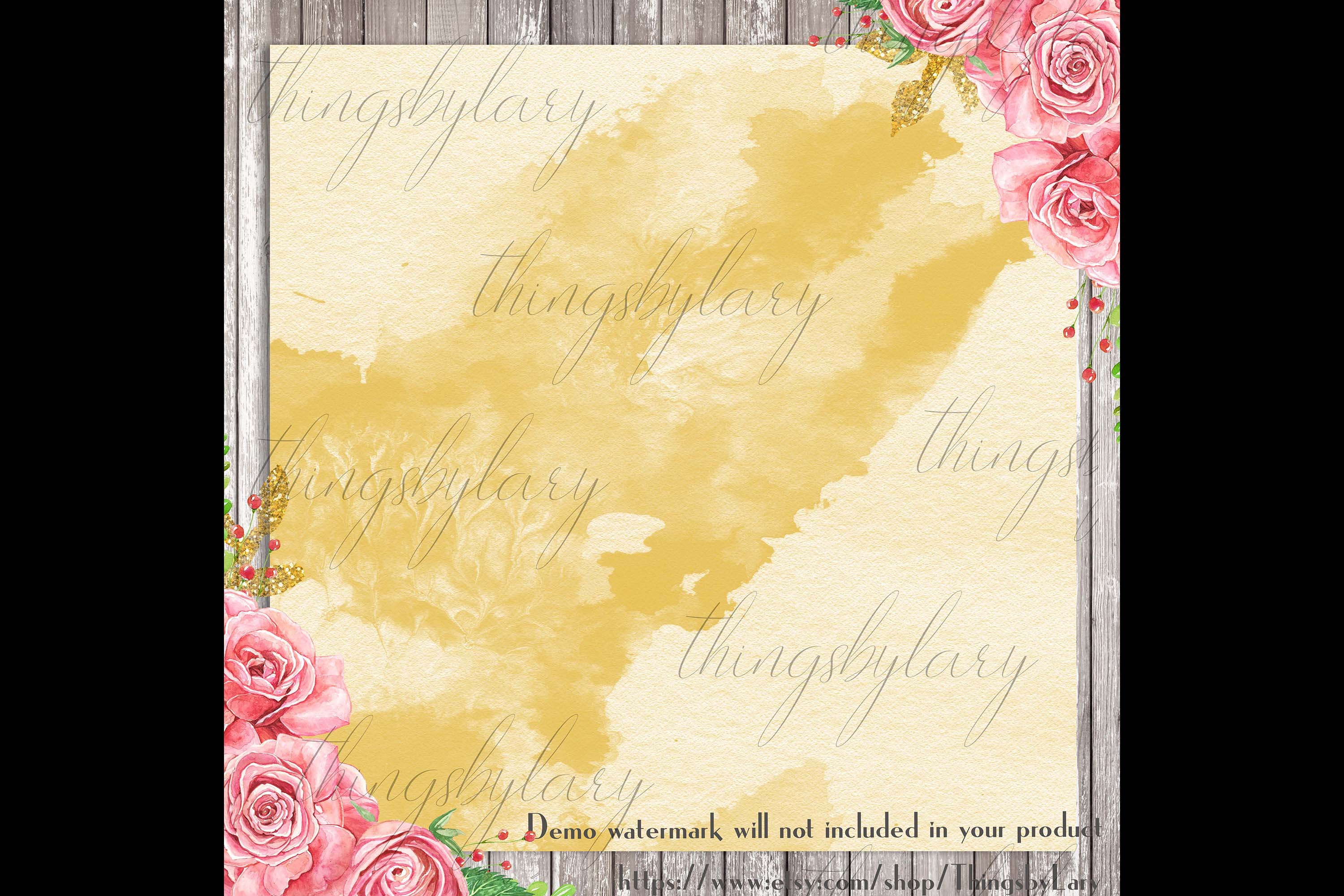 30 Ombre Gold Paint Brush Stroke Watercolor Digital Papers example image 2