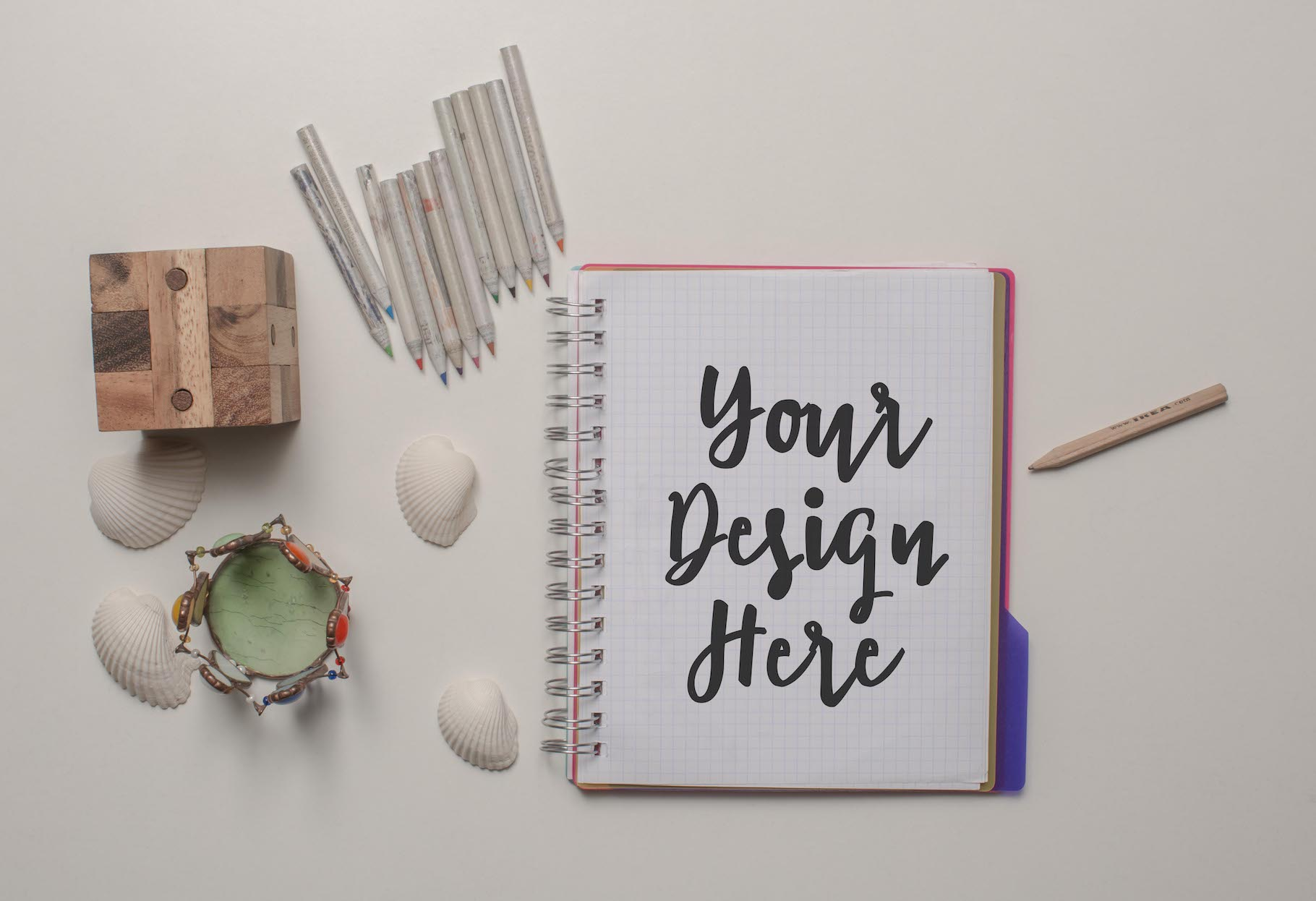 Set of 7 mockups on white table example image 6