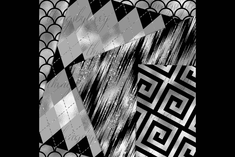 30 Seamless Black Silver Foil Basic Home Decor Print Pattern example image 6