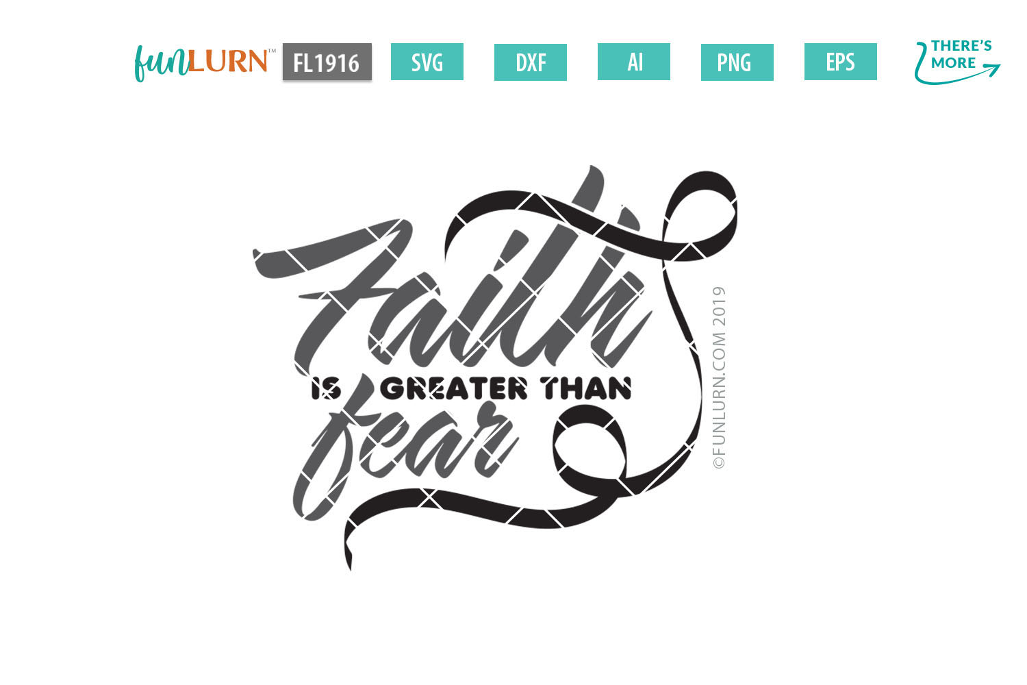 Faith is Greater Than Fear Black Ribbon SVG Cut File example image 2
