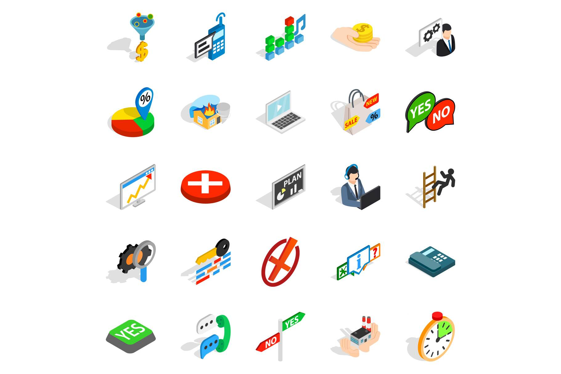 Occupation icons set, isometric style example image 1