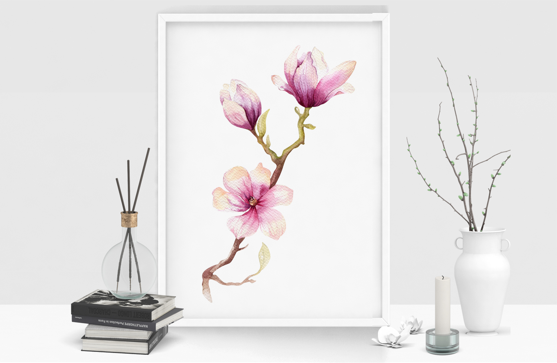 Watercolour magnolia and birds example image 8