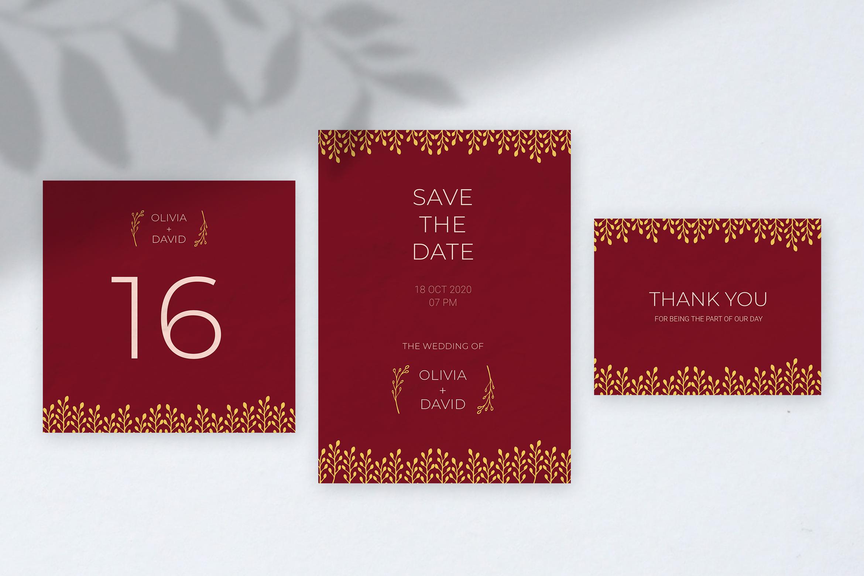 Burgundy Wedding Invitation example image 3