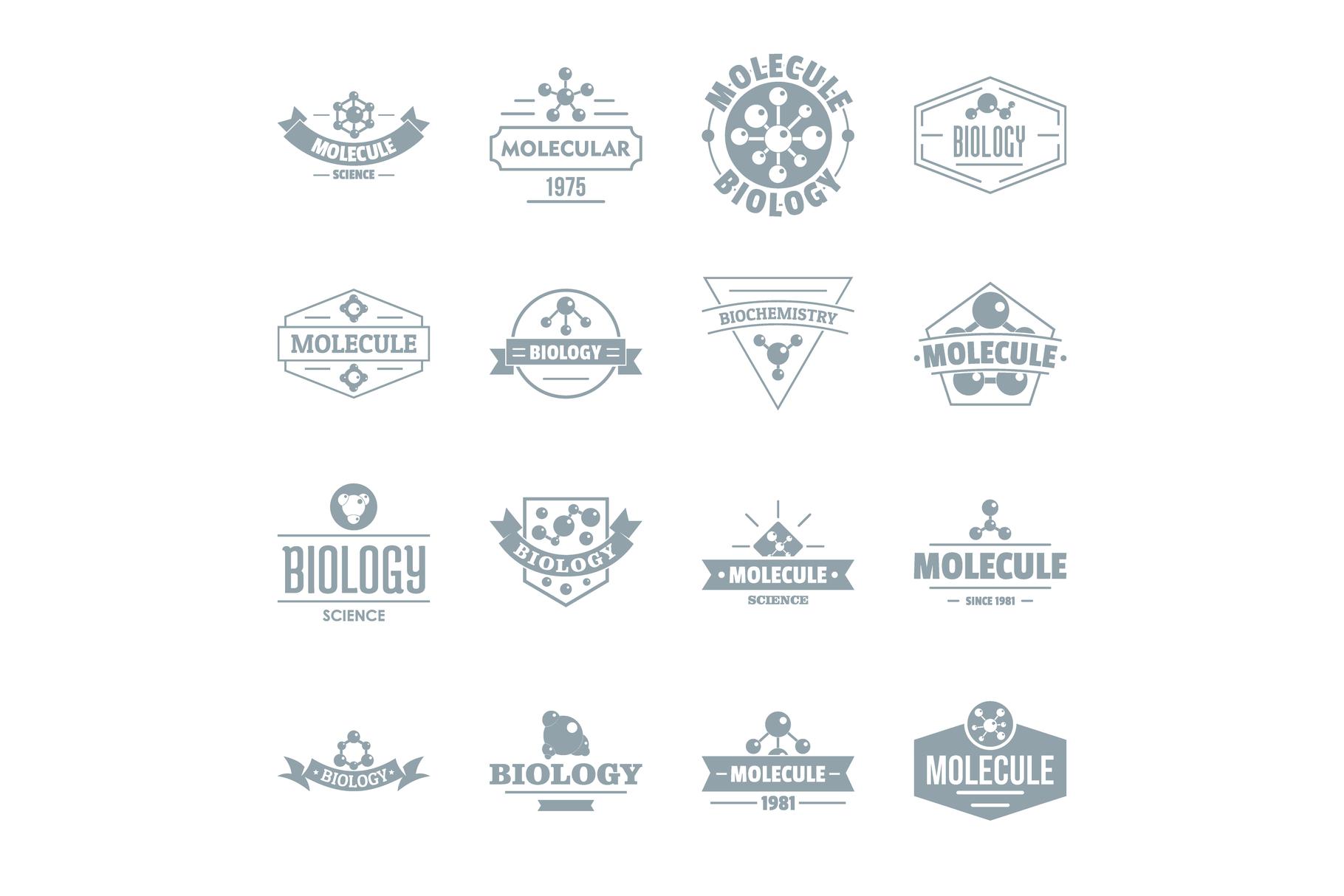 Molecule logo icons set, simple style example image 1