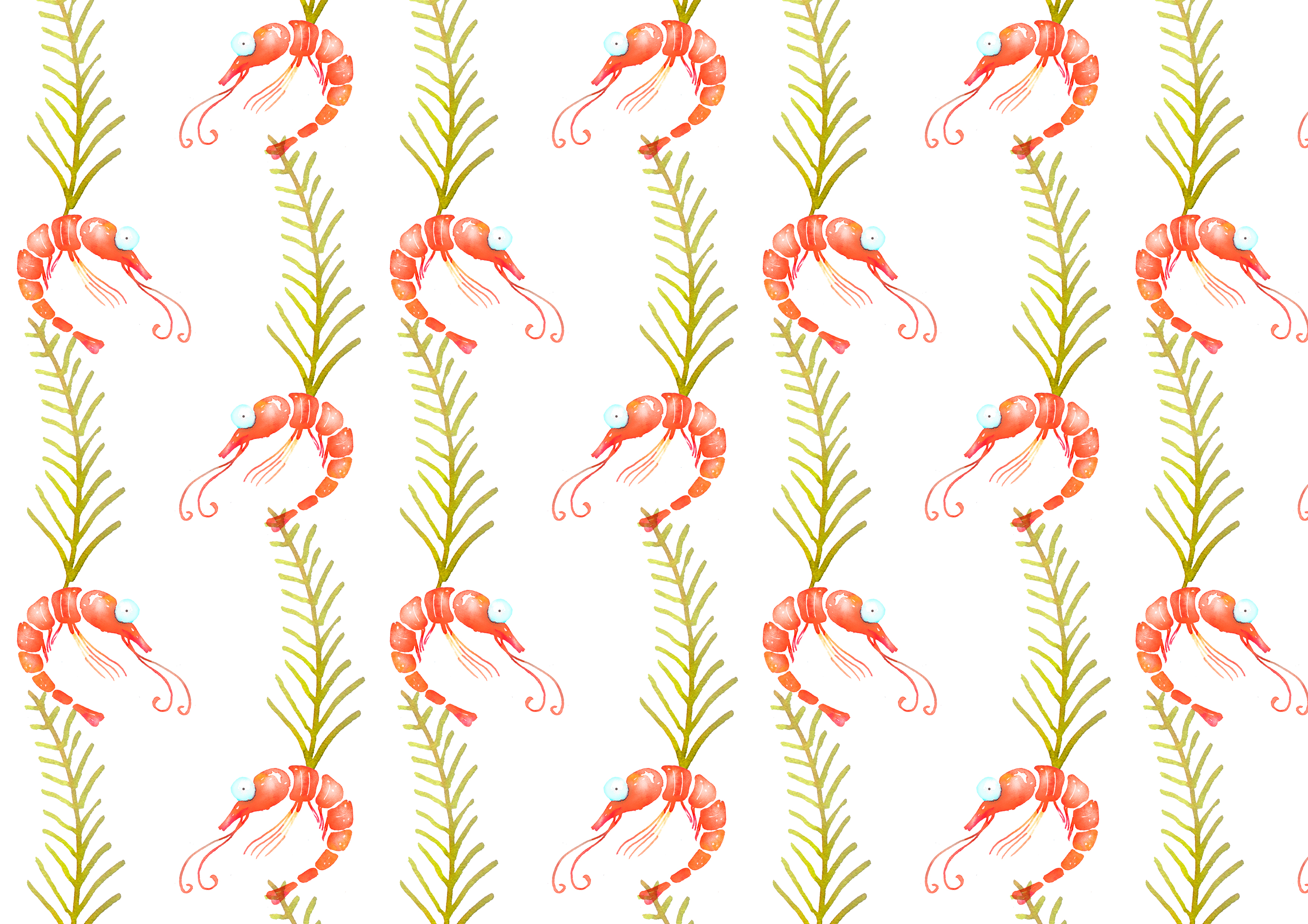 Shrimps watercolor patterns set example image 5