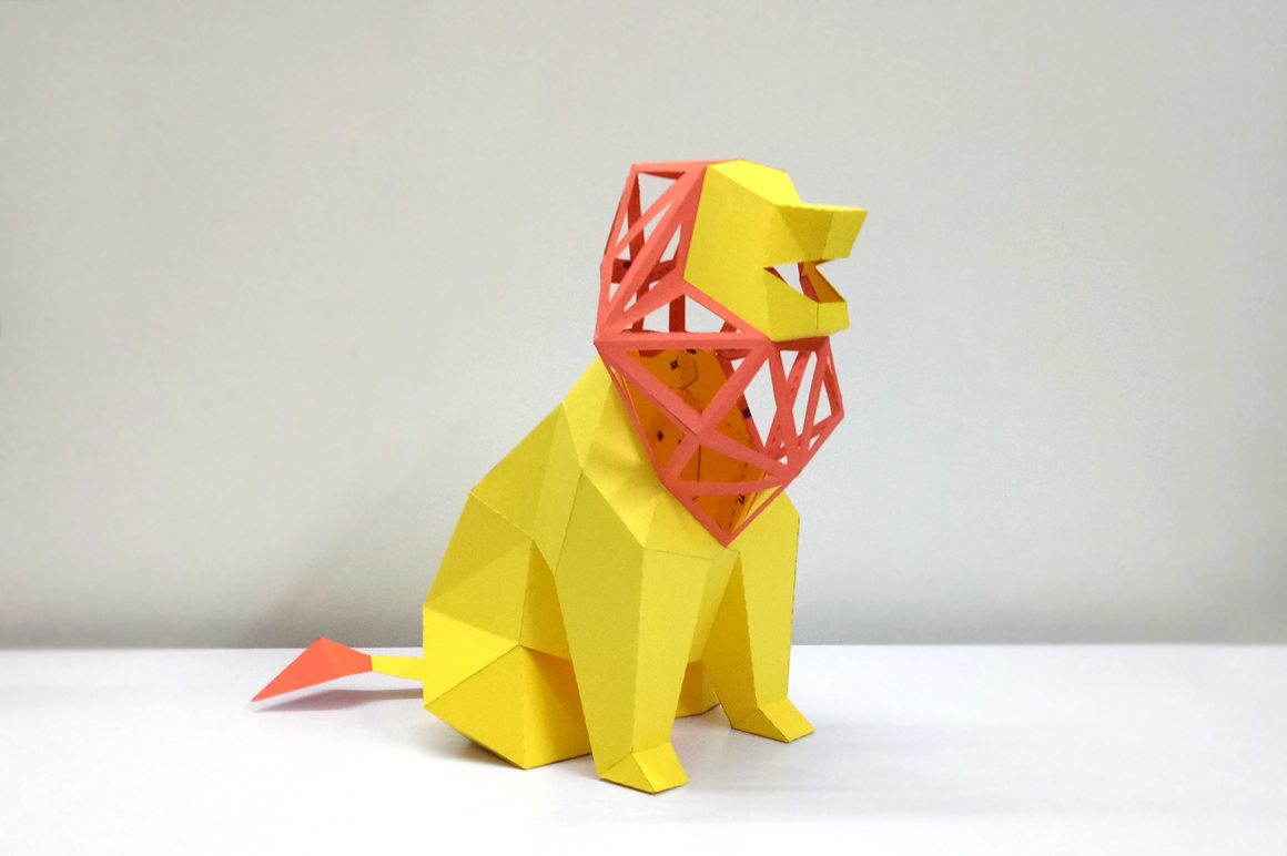 DIY Lion Sculpture - 3d papercraft example image 2