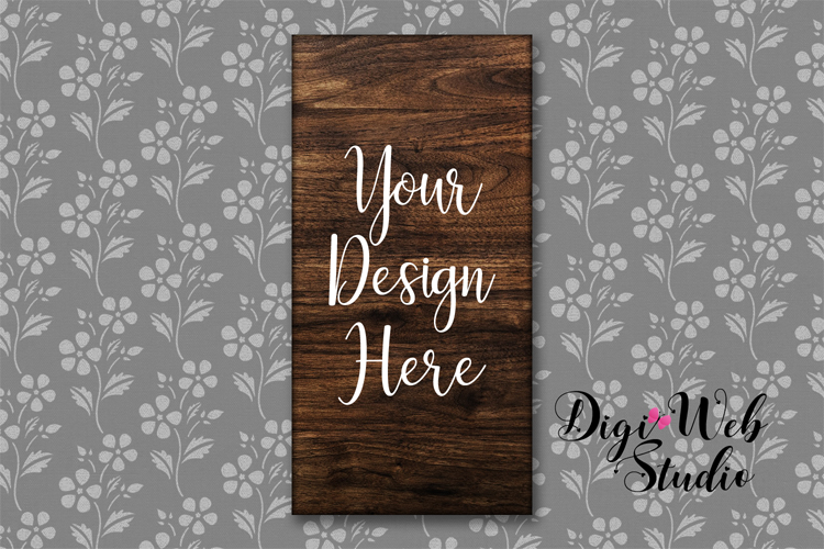 Wood Sign Mockup - Rectangle Wood Sign on Flower Wallpaper example image 1