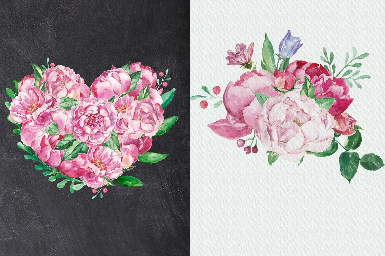 Watercolor Romantic Bouquet clip art example image 6