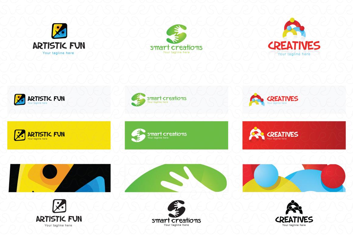 Art Craft Handicrafts Logo Templates Pack of 12 example image 4