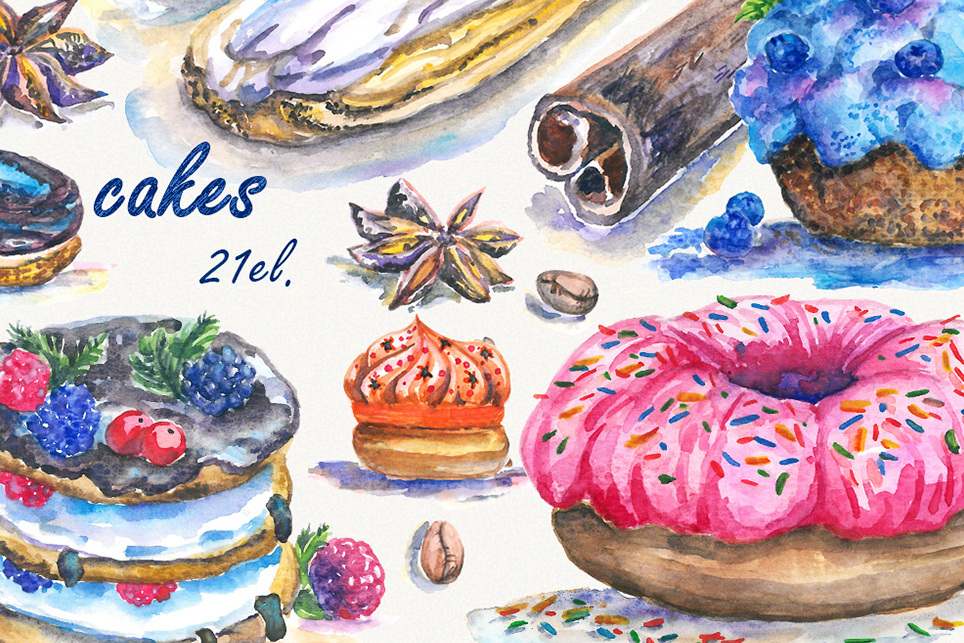 Cake Clipart, cupcake clipart, donut clipart, Handpainted example image 1