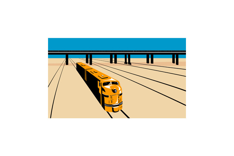 Diesel Train High Angle Retro example image 1