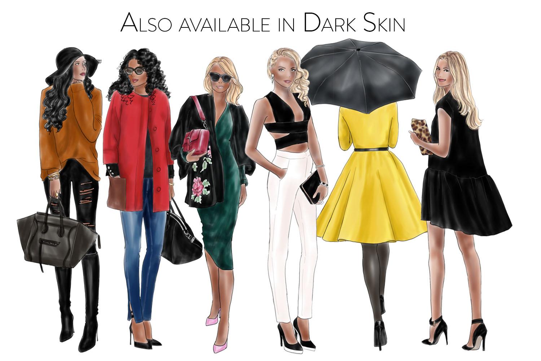 Fashion illustration clipart - Fashion Girls - Volume 11 - Light Skin example image 3