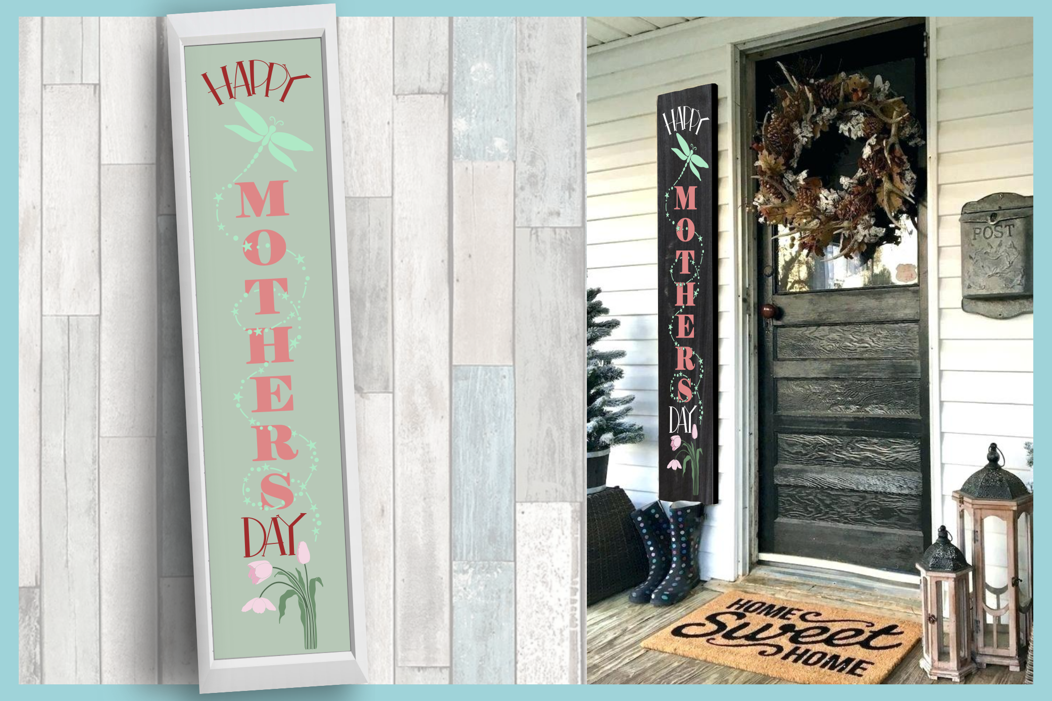Holiday Tall Vertical Front Porch Sign Bundle SVG example image 5
