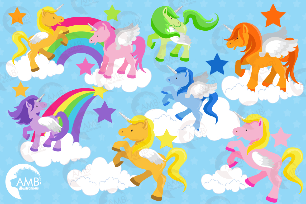 Magical Unicorns clipart, graphics and illustrations AMB-160 example image 4