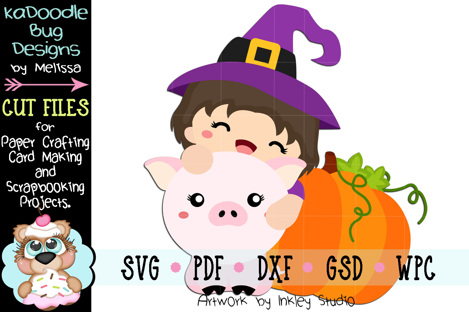 Witch Girl Piggie Cut File - SVG PDF DXF GSD WPC example image 1