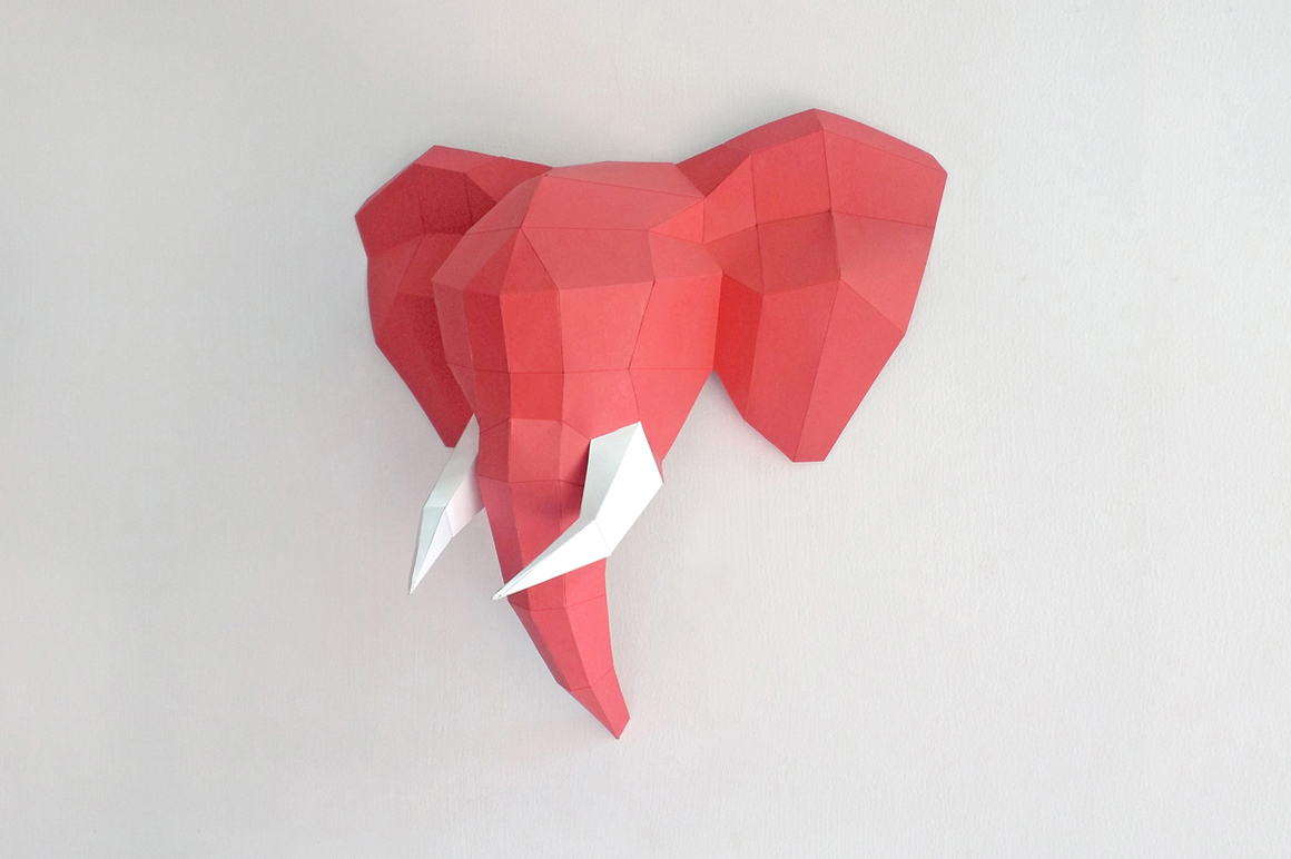DIY Elephant Trophy - 3d papercraft example image 2