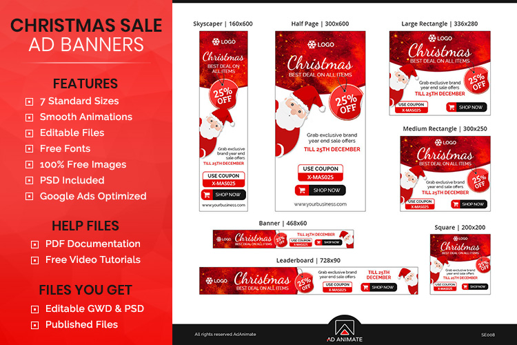 Christmas Sale Animated Ad Banner Template example image 1