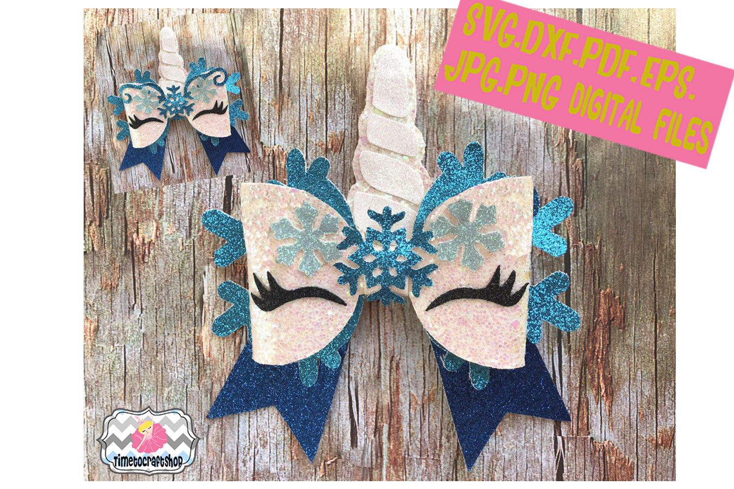 Unicorn Snowflake Hair Bow Template example image 1