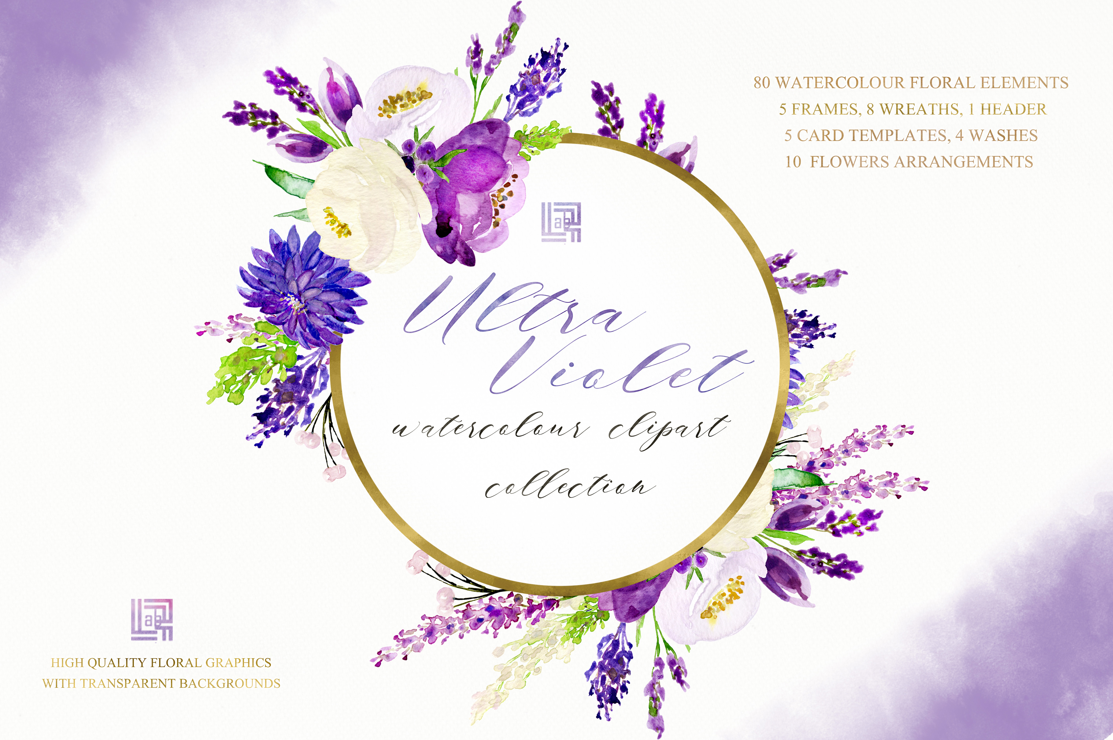 Ultra violet watercolor flowers example image 9