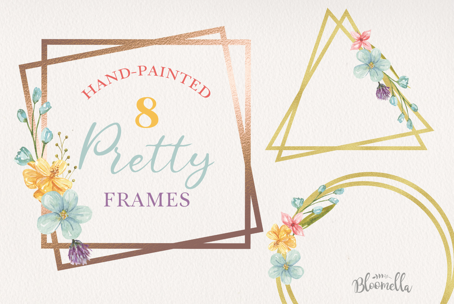 8 Flowers Gold Frames Leaves Watercolor Set Foliage Borders example image 1