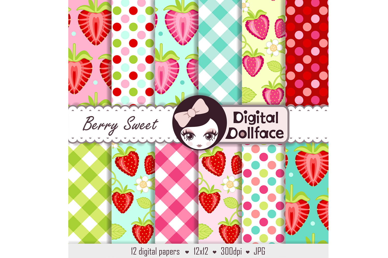 Strawberry Digital Paper / Berry Sweet Patterns example image 2