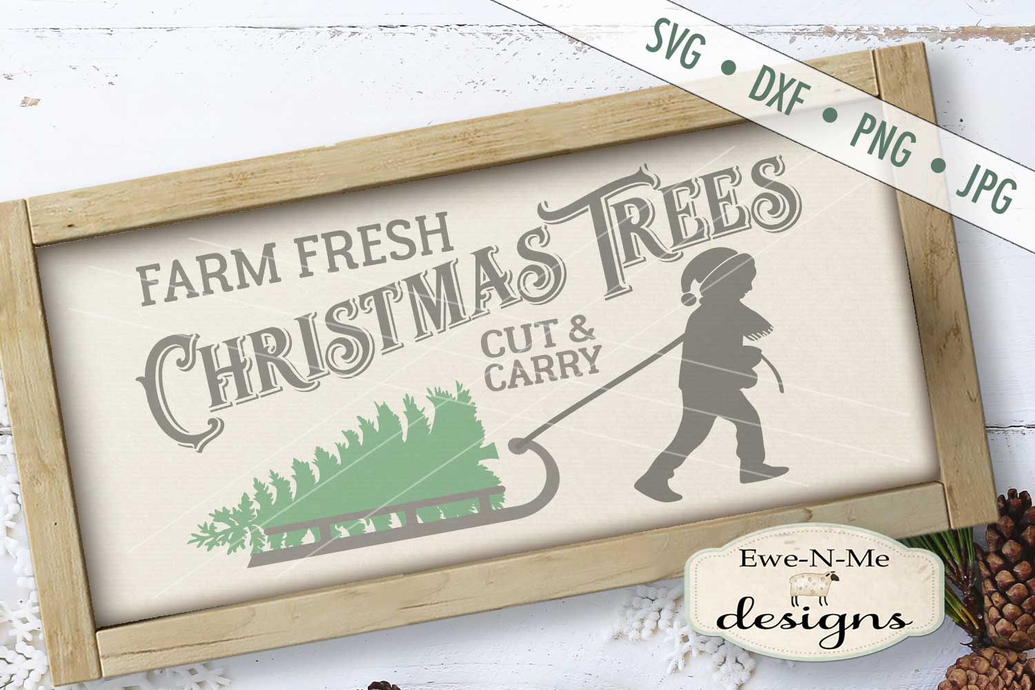 Christmas Trees Boy Pulling Sled SVG DXF Files example image 1