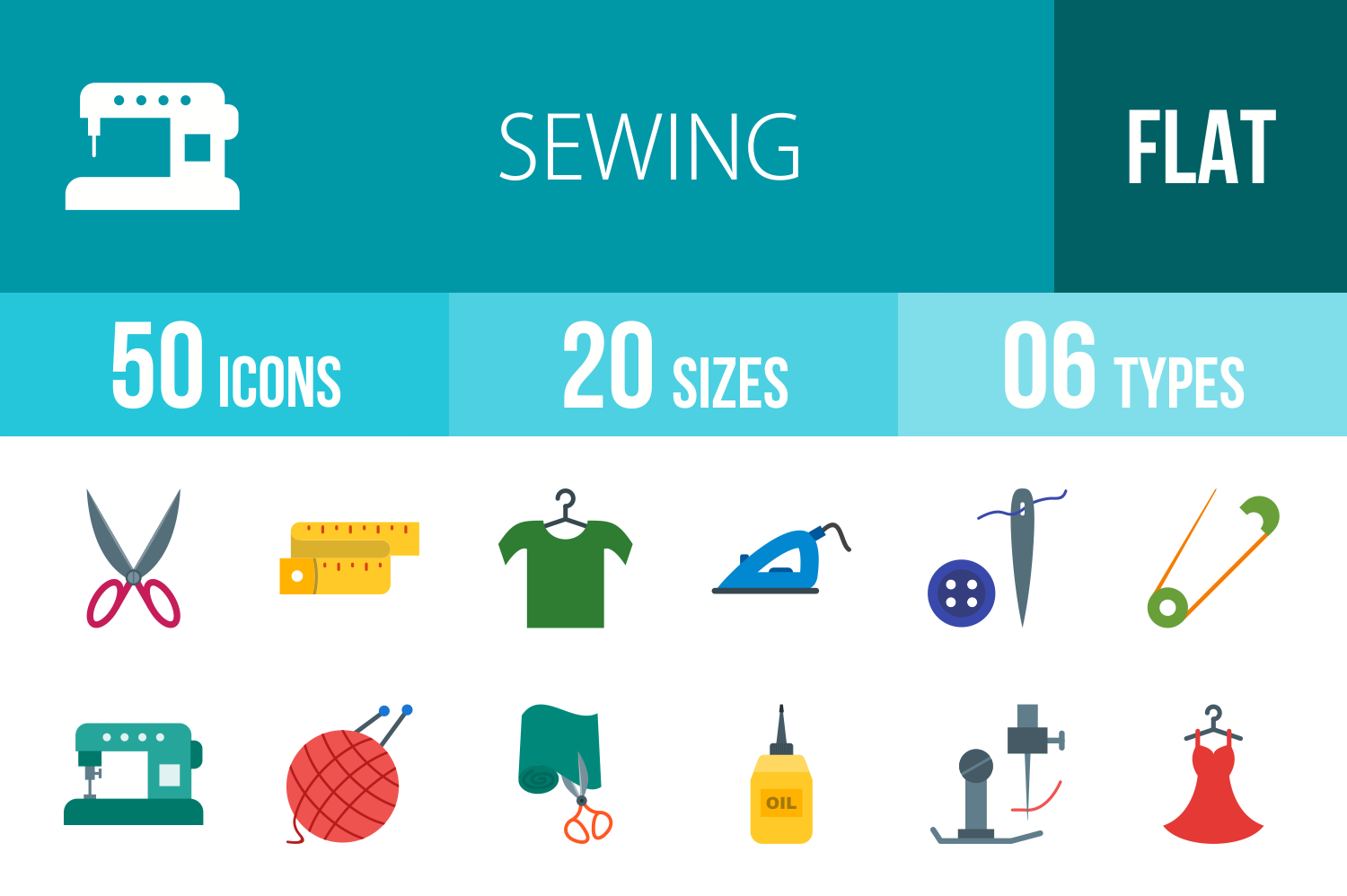 50 Sewing Flat Multicolor Icons example image 1