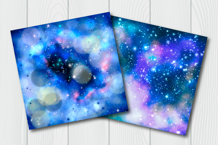 Blue galaxy digital paper. Starry sky background example image 8