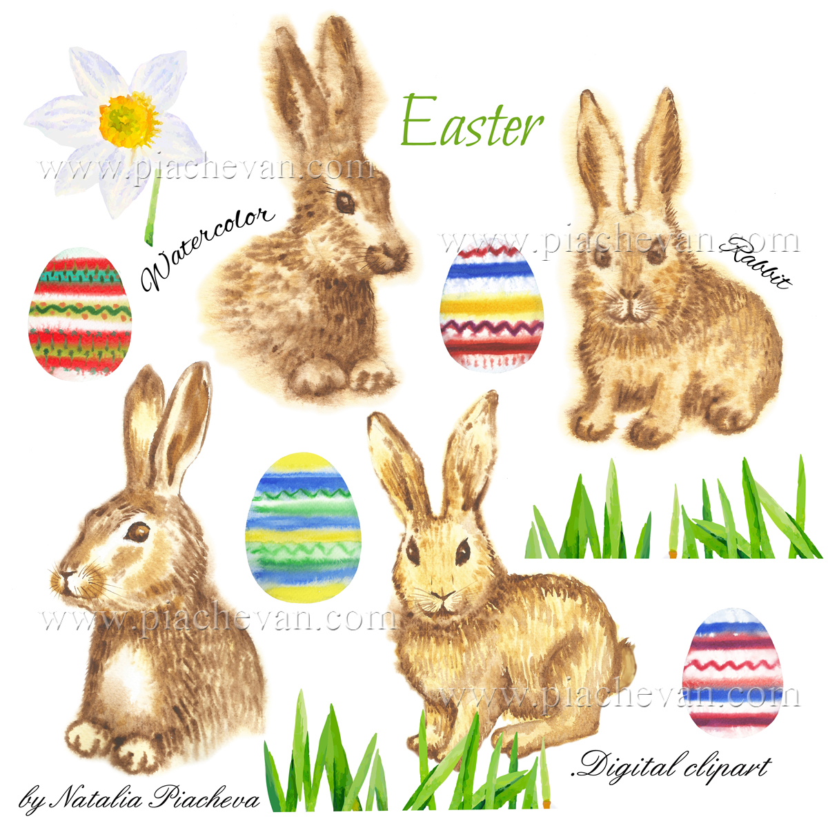 Clipart with Easter Rabbits example image 3
