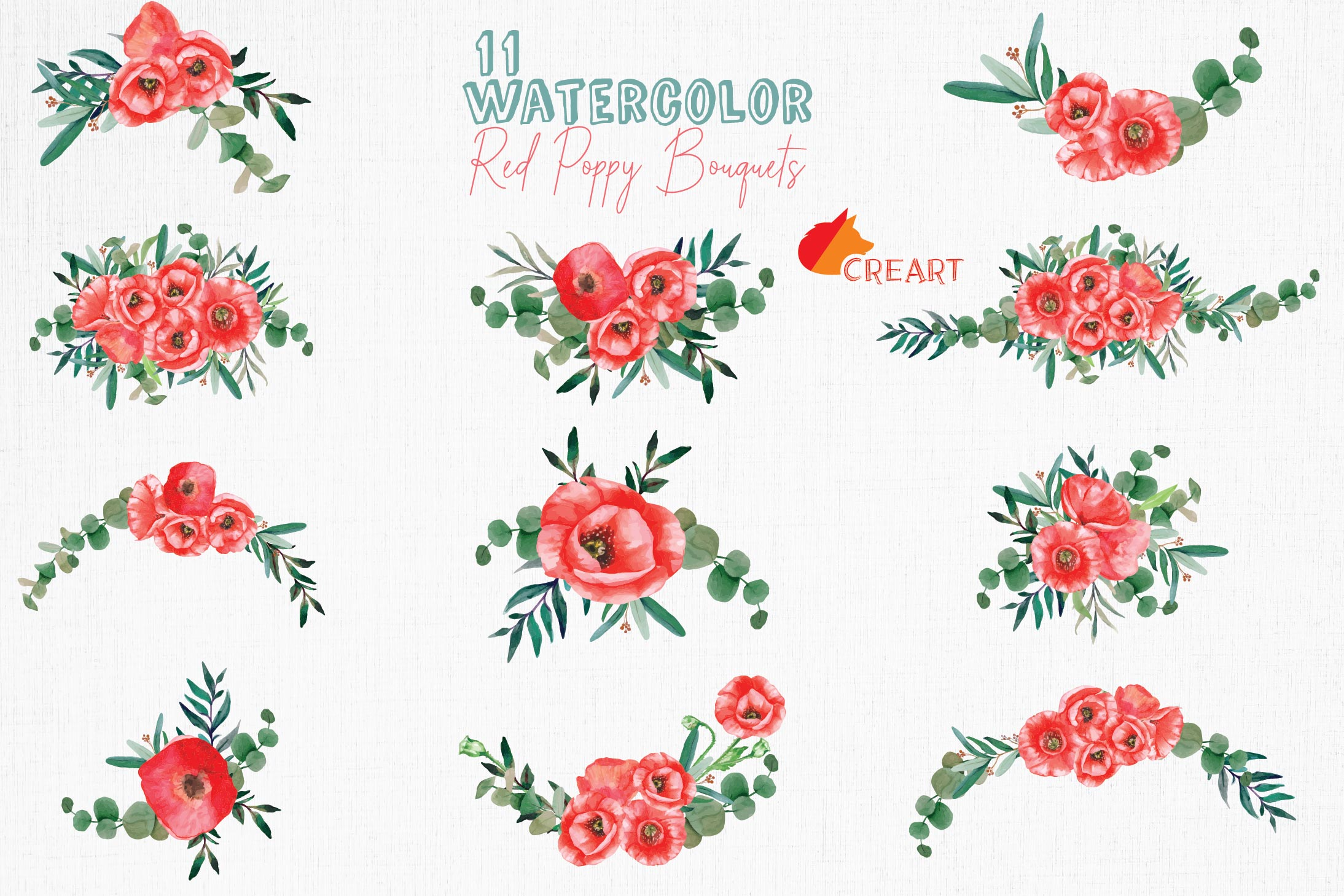 Red poppies floral watercolor wedding bouquets, floral decor example image 2