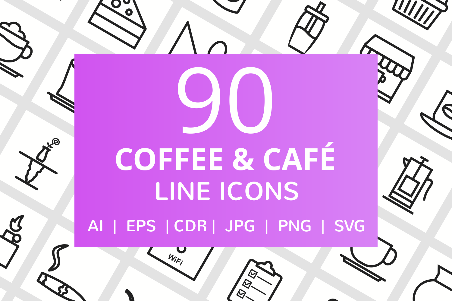 90 Coffee & Cafe Line Icons example image 1