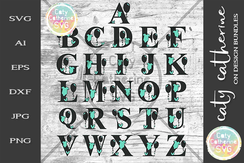 Full Alphabet A-Z Newborn Baby Monogram SVG Cut file example image 2