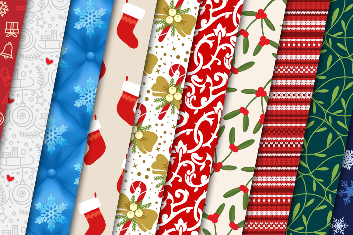 100 Christmas Seamless Patterns example image 5