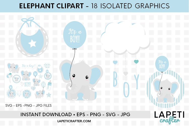 Baby Boy Elephant, gender reveal, baby shower clipart example image 8