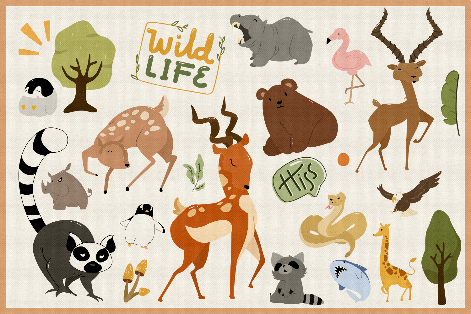 Wild Animals 80 Vector Clipart & Seamless Patterns example image 5