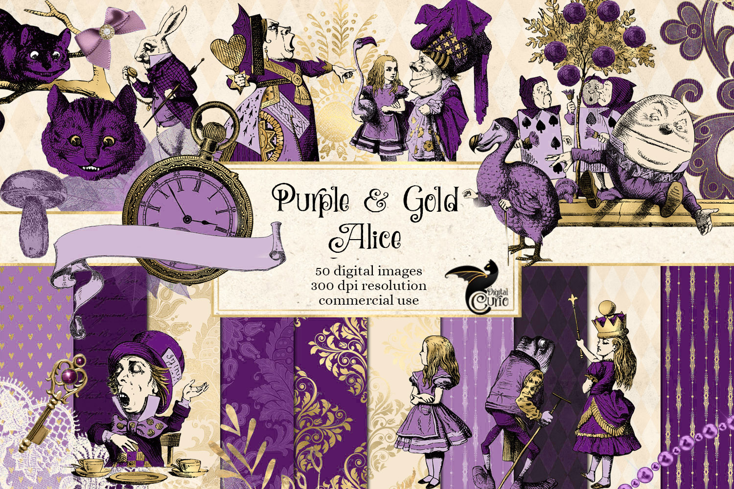 Purple and Gold Alice in Wonderland Graphics example image 1
