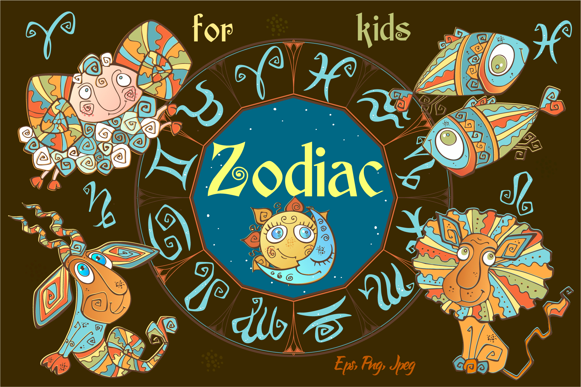 Zodiac signs for children. Funny horoscope in a cute style. example image 1