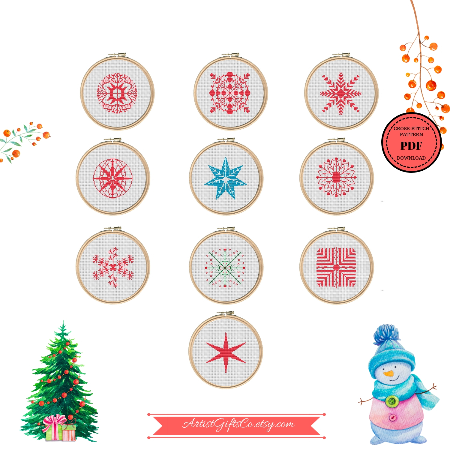 Christmas Series Snowflakes, Counted Cross Stitch Pattern example image 2
