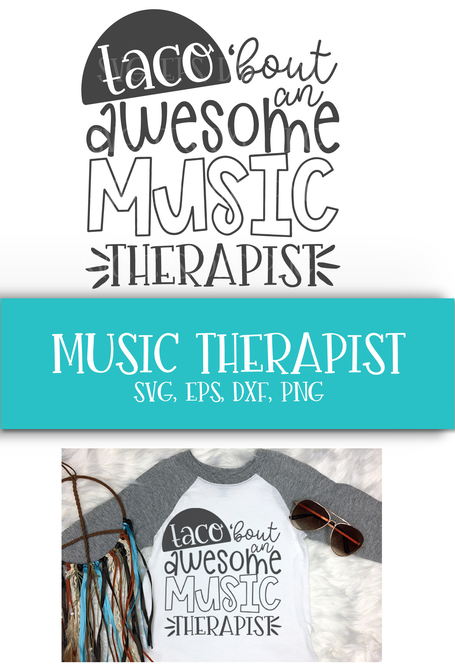Music Teacher, School, Therapist, Taco, SVG, PNG, DXF, EPS example image 2