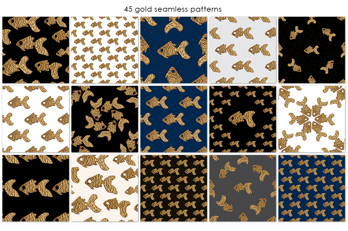 GOLDFISH collection. Hand painted patterns. example image 2