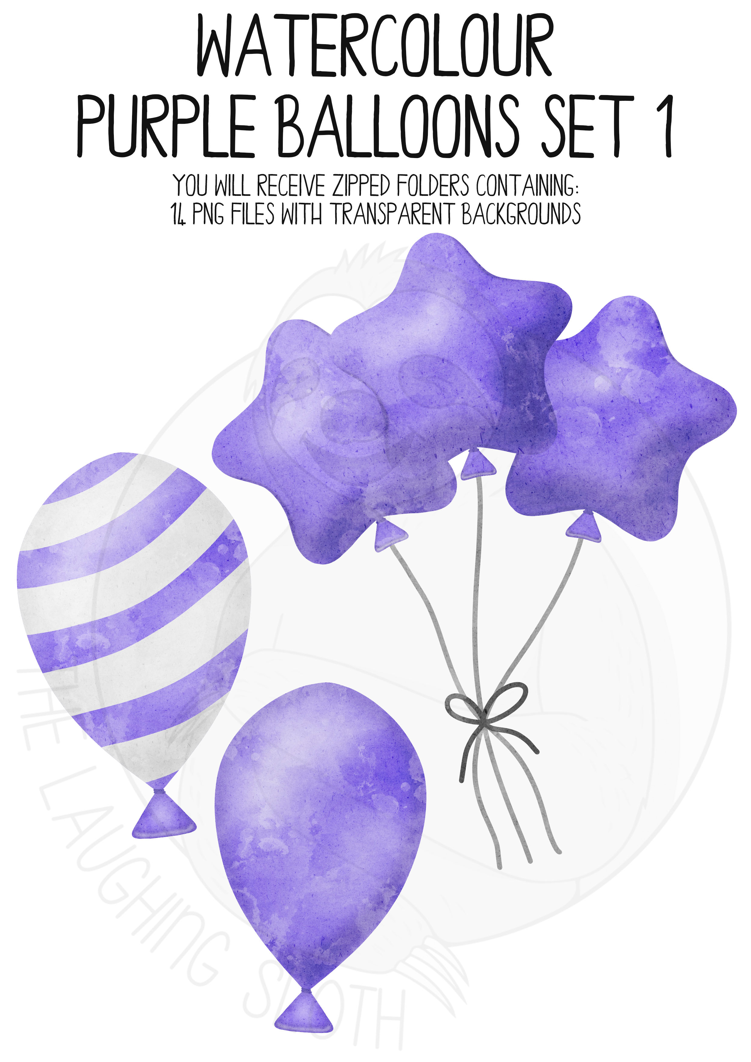 Purple Watercolor Balloon Clipart Set example image 4