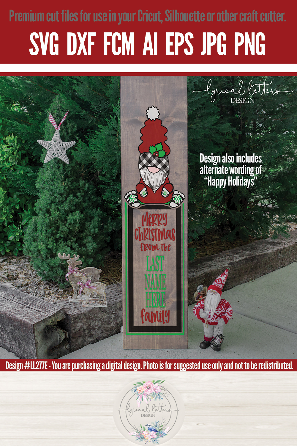 Merry Christmas Gnome Vertical Sign SVG Cut File LL277E example image 3