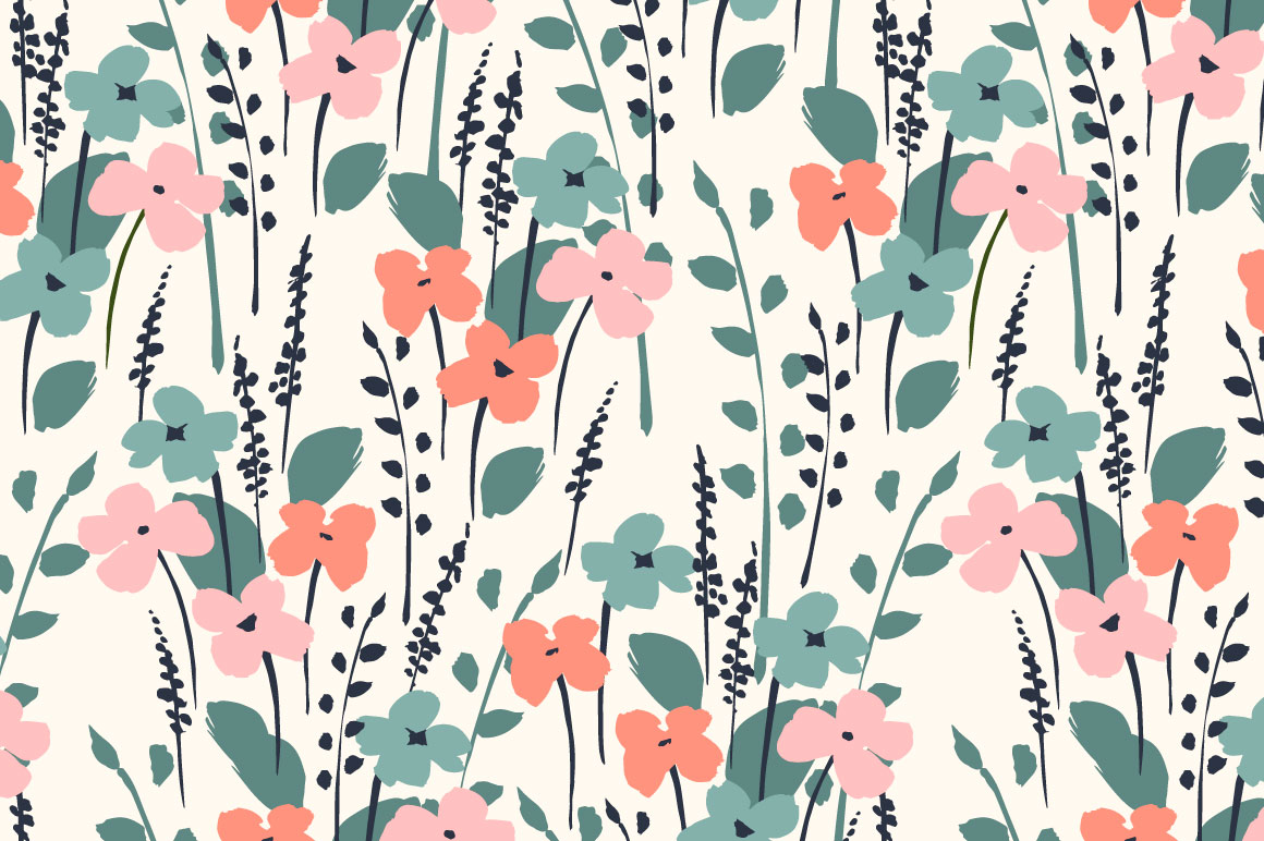 Cute flowers. 10 seamless patterns. example image 2
